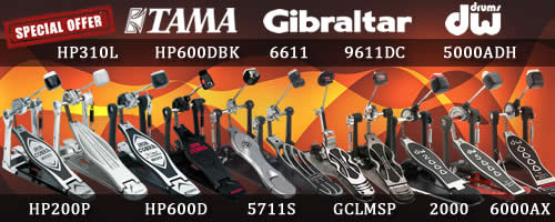 Drum pedals Gibraltar, Tama, Drum Workshop